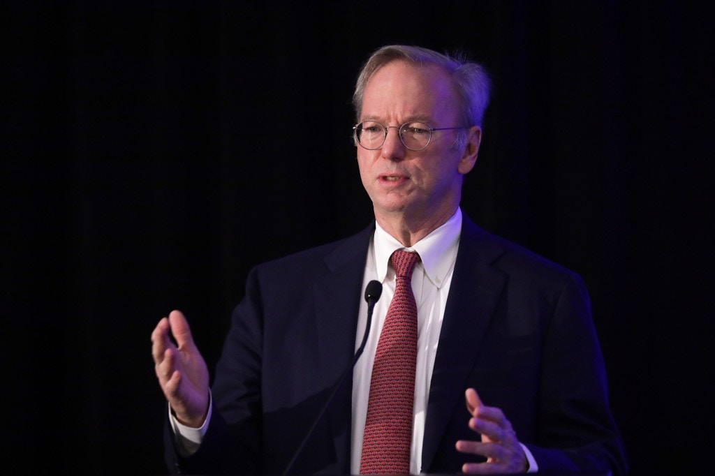 "WASHINGTON, DC - NOVEMBER 05:  Executive Chairman of Alphabet Inc., Google's parent company, Eric Schmidt speaks during a National Security Commission on Artificial Intelligence (NSCAI) conference November 5, 2019 in Washington, DC. The commission held a conference on ""Strength Through Innovation: The Future of A.I. and U.S. National Security.""  (Photo by Alex Wong/Getty Images)"